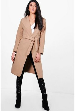 Womens Camel Belted Wool Look Shawl Collar Coat
