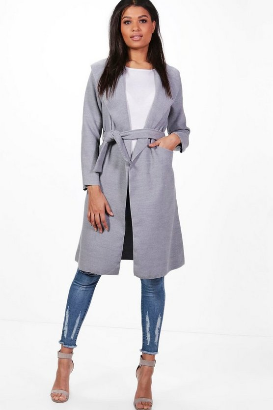 Womens Grey Belted Wool Look Shawl Collar Coat