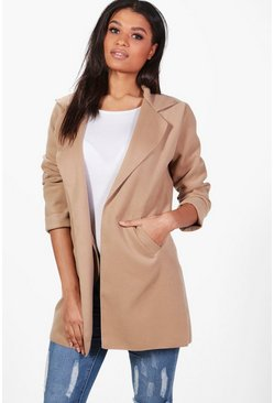 Womens Camel Collared Coat