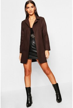 Womens Chocolate Collared Coat