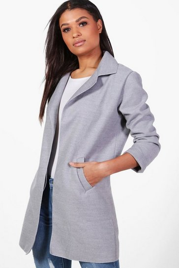 Womens Grey Collared Coat