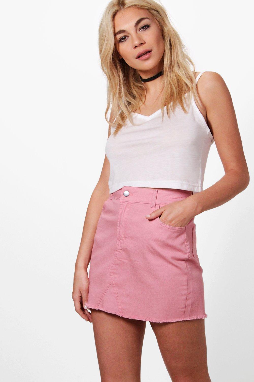 d305dfee0f Helen Coloured Denim Raw Edge Skirt | Boohoo