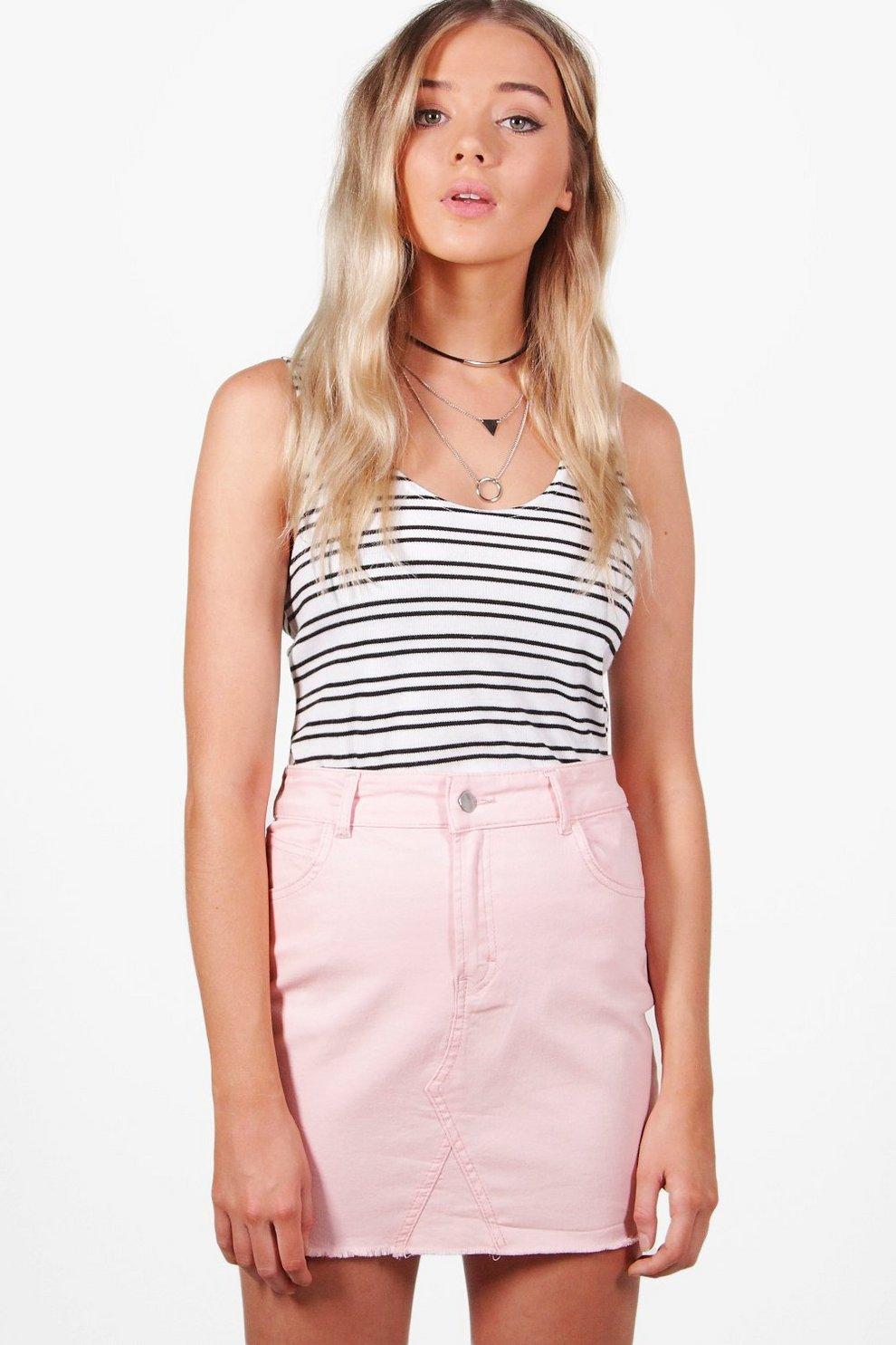 b35d28241f Helen Pastel Denim Raw Edge Skirt   Boohoo