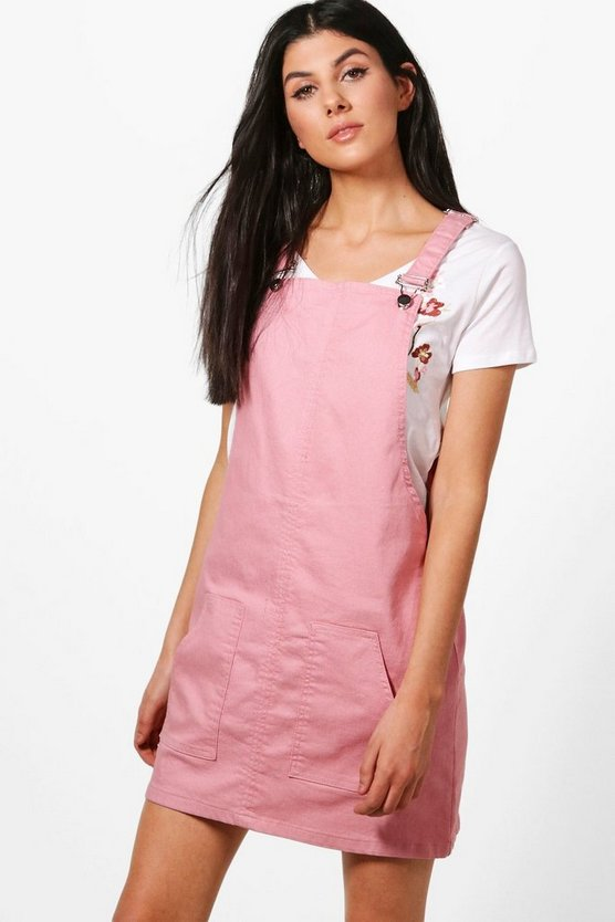Womens Rose Poppy Denim Pinafore Dress