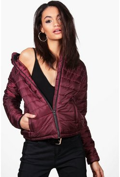 Womens Wine Louisa Quilted Hooded Coat