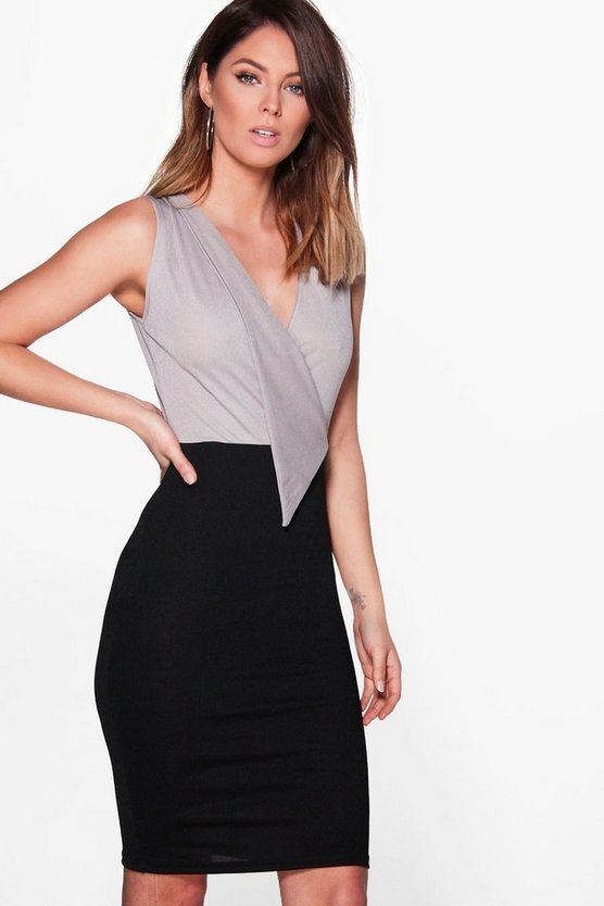 Contrast Lapel Detail Dress