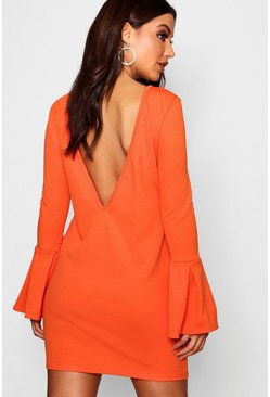 Womens Orange Low Back Flute Sleeve Shift Dress