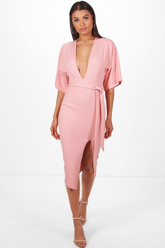 Womens Blush Lauren Kimono Sleeve Belted Midi Dress