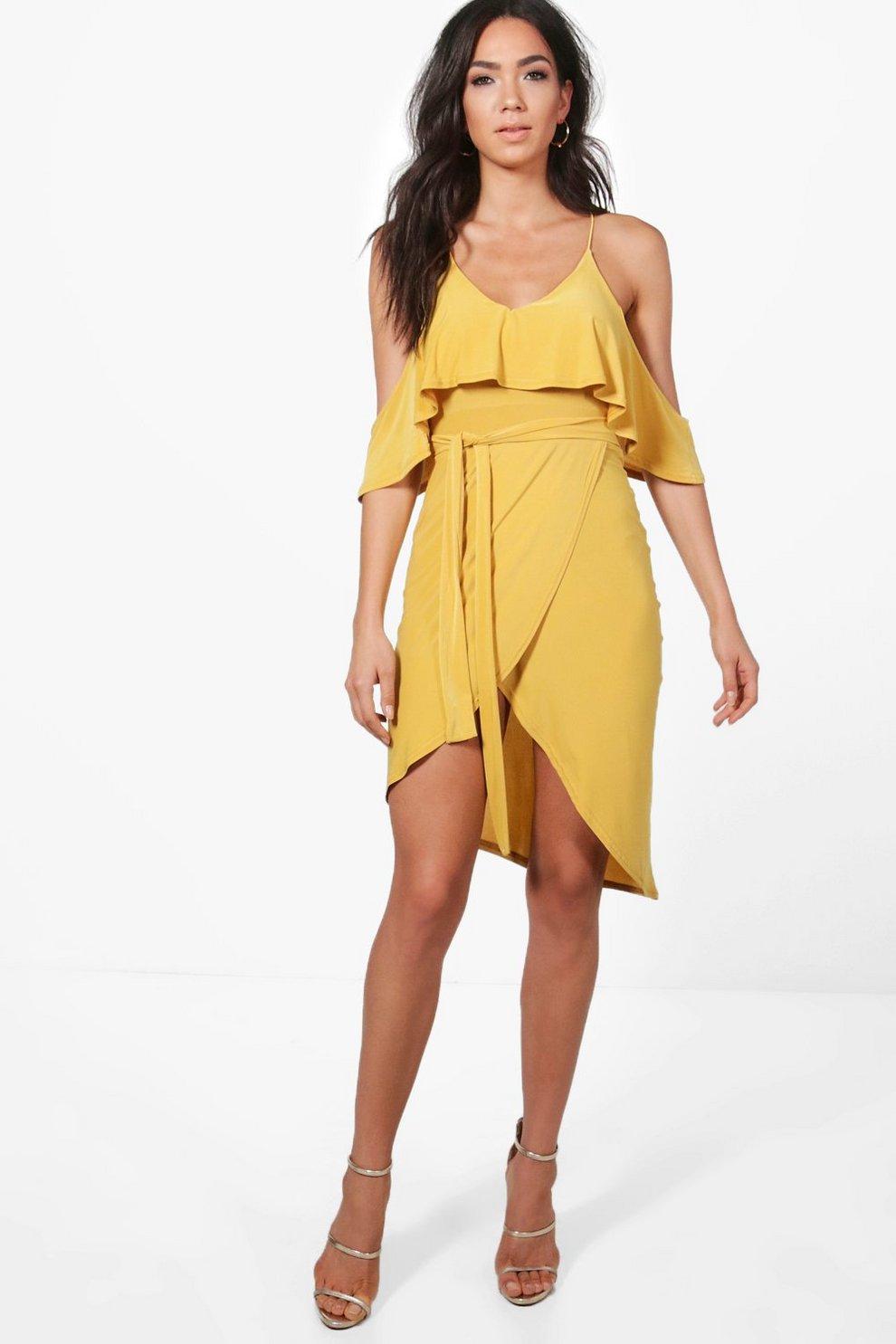 a26e67493569 Womens Honeydew Slinky Cold Shoulder Wrap Midi Dress