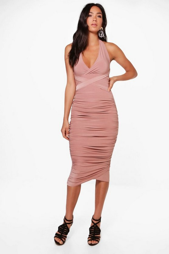 Emma Slinky Halter Neck Ruched Detail Midi Dress