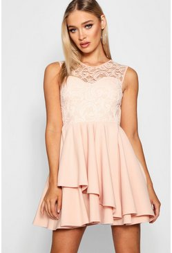 Womens Nude Lace Top Layer Skirt Skater Dress