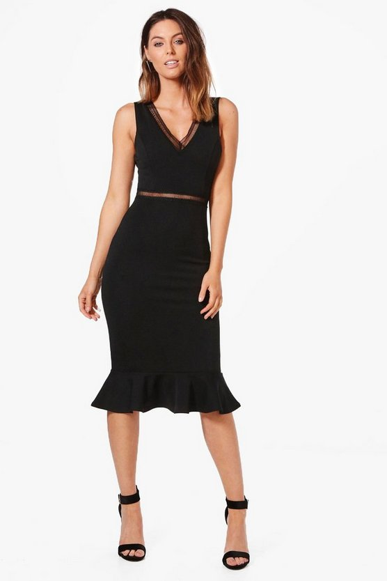 Ladder Trim Detail Peplum Hem Midi Dress