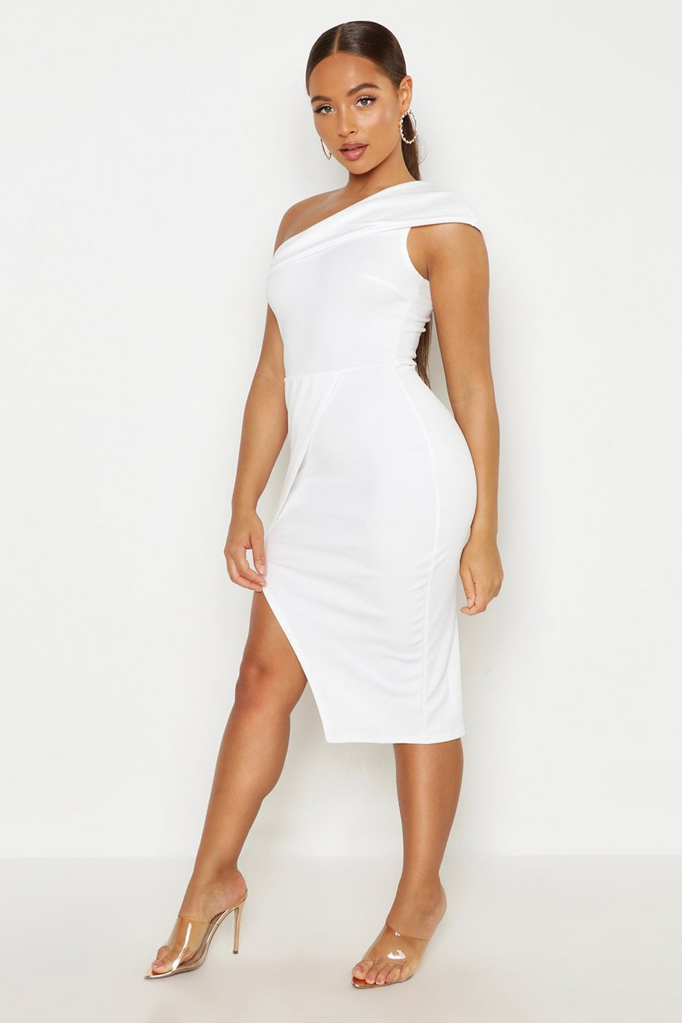 14008a3928517 Womens Ivory One Shoulder Wrap Skirt Midi Dress. Hover to zoom