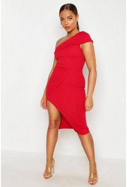Red One Shoulder Wrap Skirt Midi Dress