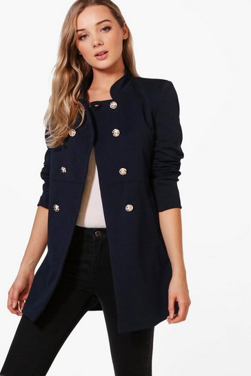 Womens Navy Military Style Coat