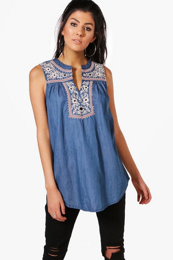 Cindy Embroidered Denim Smock Top