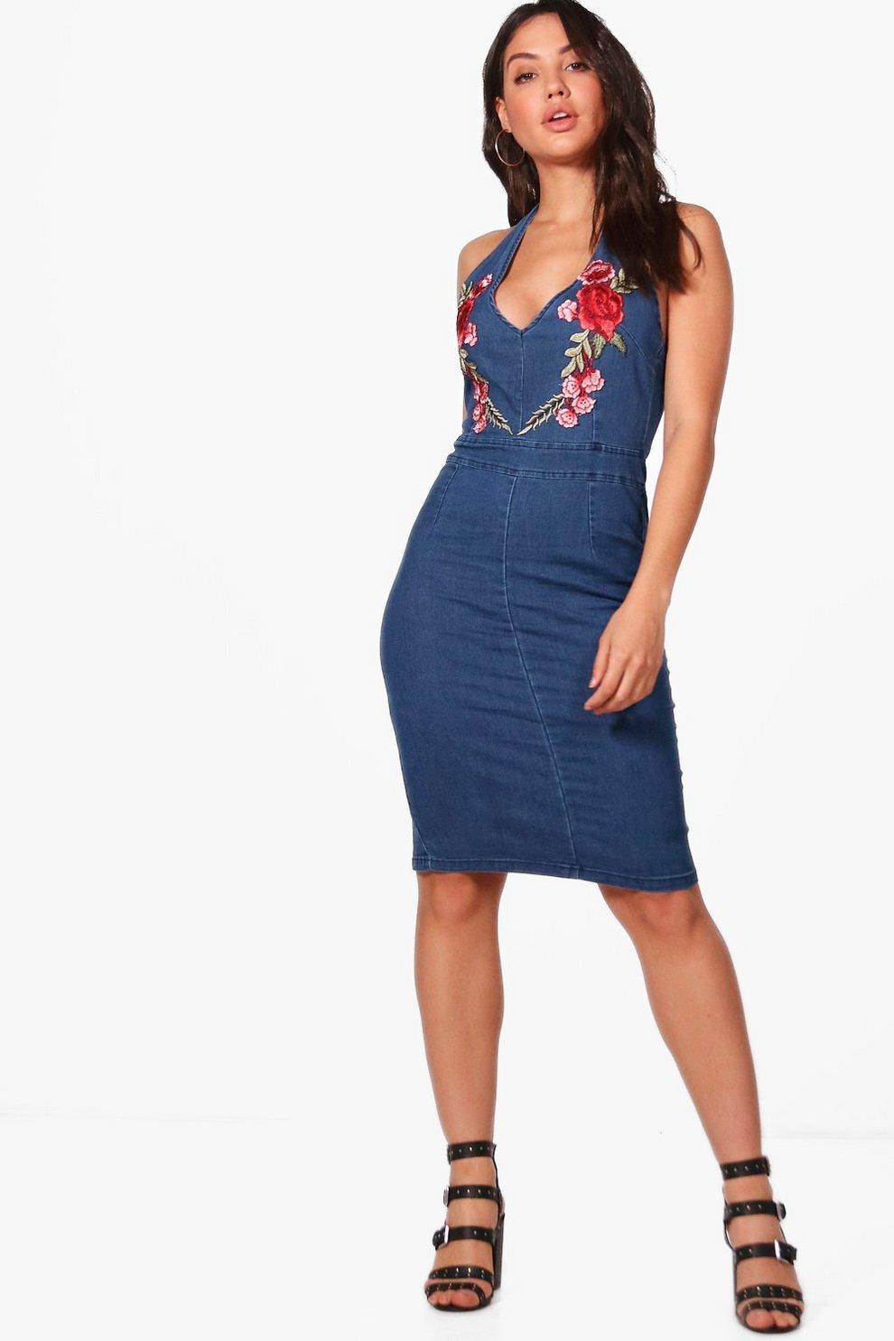 e27e05b746e1d Jessie Embroidered Plunge Front Denim Dress | Boohoo