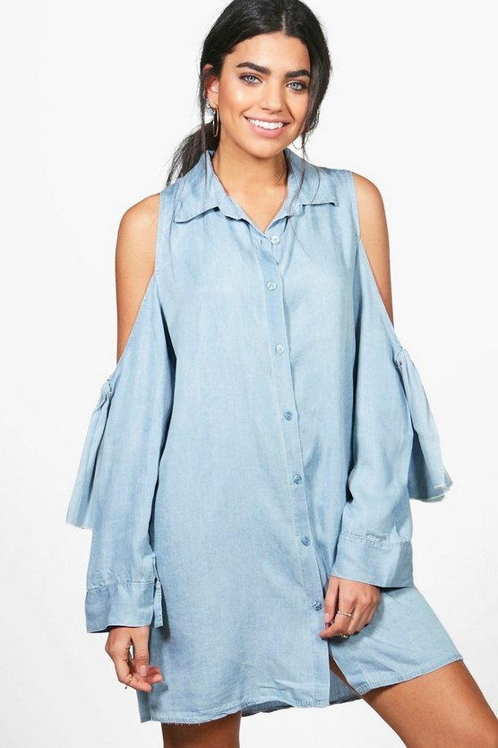 Lucia Tie Sleeve Denim Shirt Dress