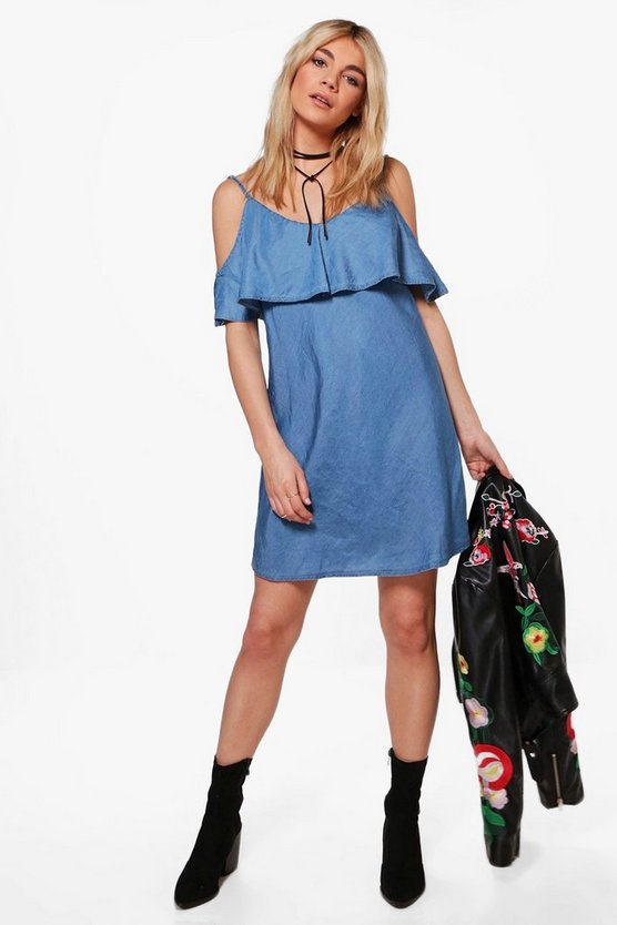 Chiara Cami Frill Denim Dress