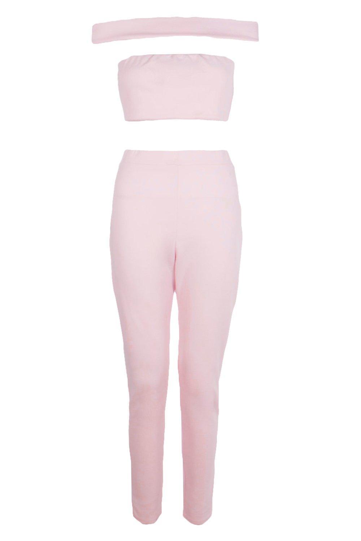 Conjunto hombros de top Rosa con y pantalones corto rubor descubiertos rYTqwrd