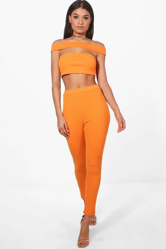 Off Shoulder Crop & Trouser Co-Ord