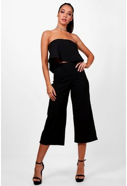 Womens Black Bandeau Top & Culottes Co-Ord Set