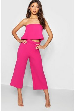 Womens Bright pink Bandeau Top & Culottes Co-Ord Set