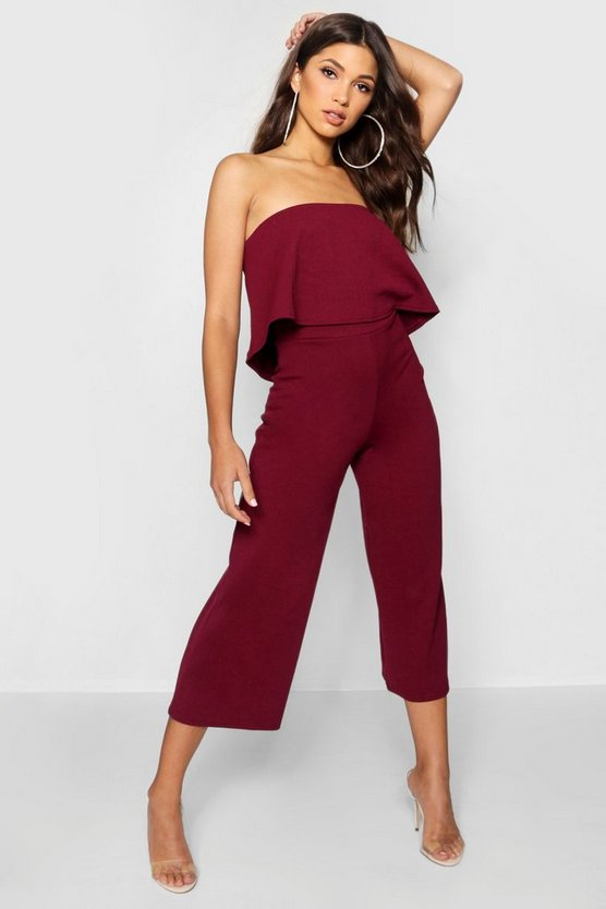 Womens Burgundy Bandeau Top & Culottes Co-Ord Set