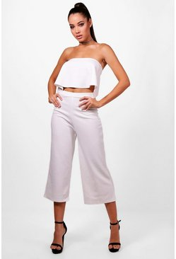 Womens Ivory Bandeau Top & Culottes Co-Ord Set
