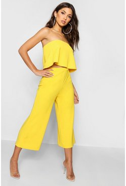 Womens Mustard Bandeau Top & Culottes Co-Ord Set