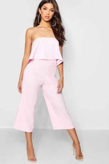 Womens Soft pink Bandeau Top & Culottes Co-Ord Set