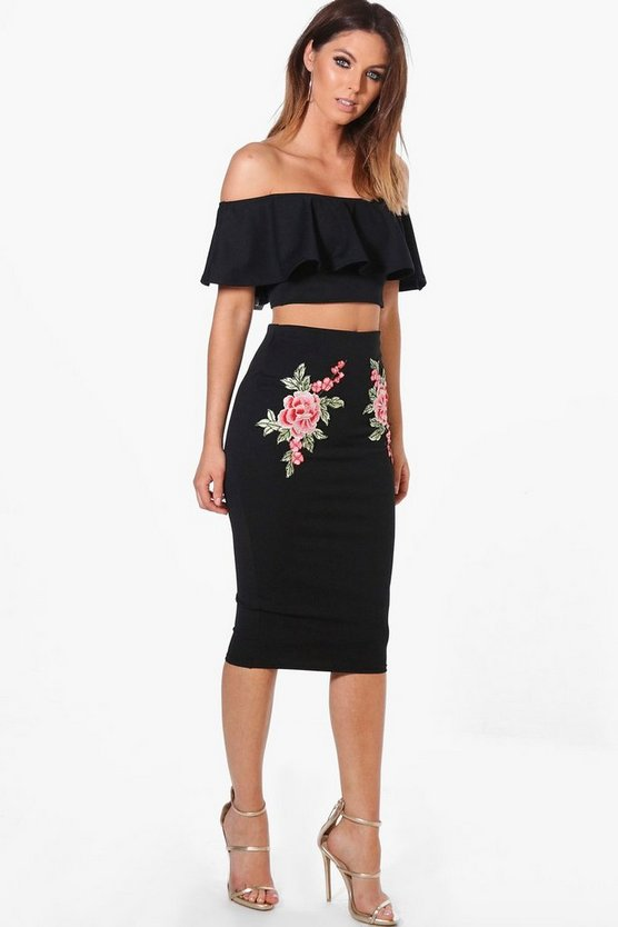 Embroidered Frill Crop & Midi Co-ord Set