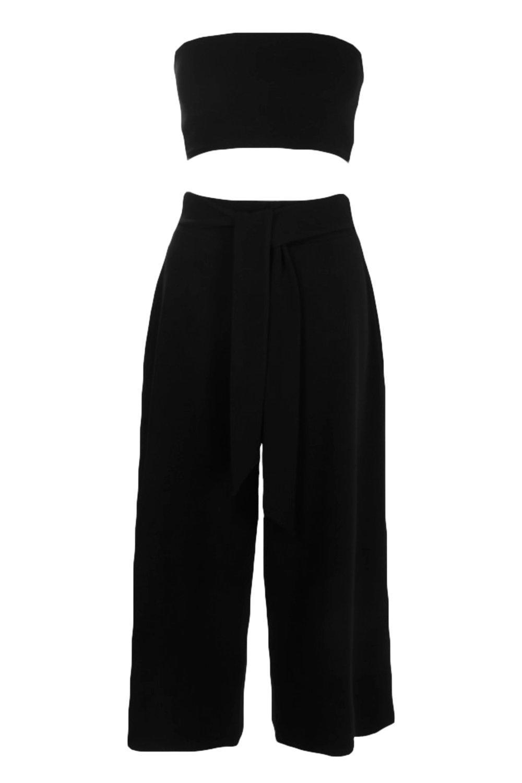 falda negro con y de cintura nudo pantalón Conjunto de palabra en AxIgvqnfw