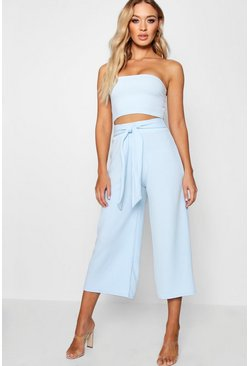 Womens Blue Tie Waist Culotte Co-Ord Set