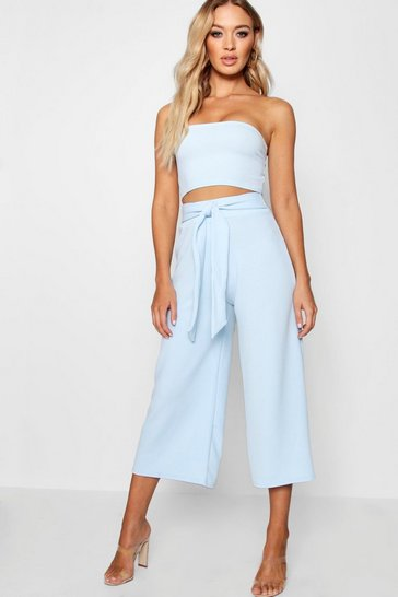 Blue Tie Waist Culotte Co-Ord Set