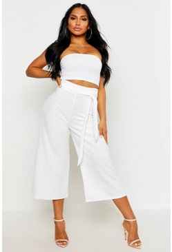 Womens Cream Tie Waist Culotte Co-Ord Set