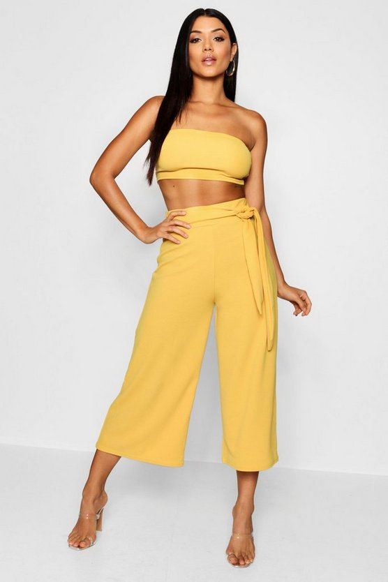 Womens Mustard Tie Waist Culotte Co-Ord Set