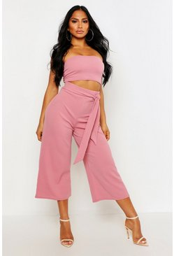 Womens Rose Tie Waist Culotte Co-Ord Set