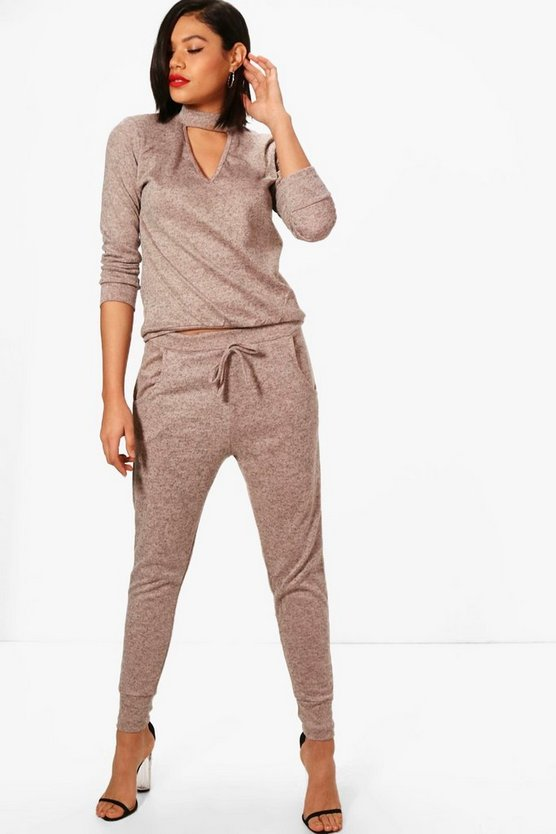 Womens Choker Knitted Loungewear Set