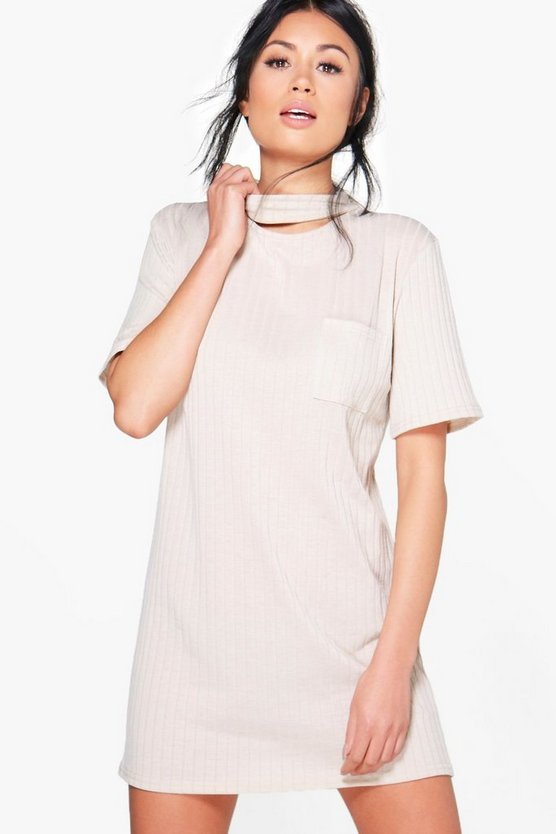 Sarah Choker Rib Knit T-Shirt Dress