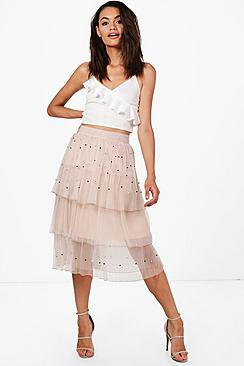 1920s Style Skirts Boutique Farah Beaded Layered Tulle Skirt $58.00 AT vintagedancer.com