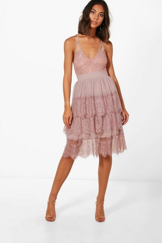 Boutique Eyelash Lace Layered Tulle Skirt