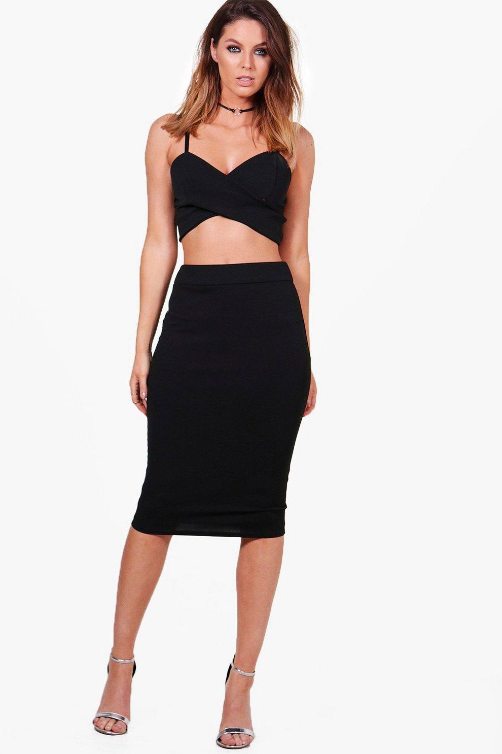 2de469ccfa Bella Crepe Stretch Midi Skirt | Boohoo