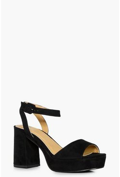 Womens Black 2 Part Platform Low Heels