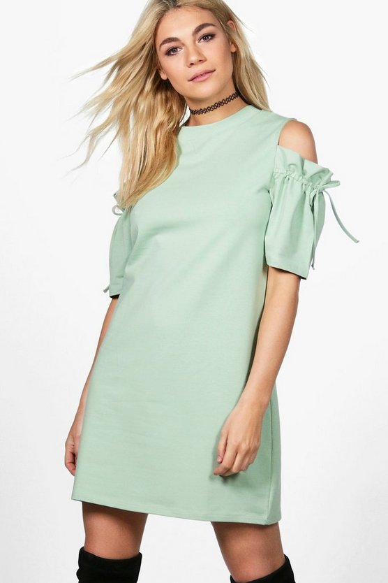 Beatrice Cold Shoulder Tie Sleeve Sweat Dress