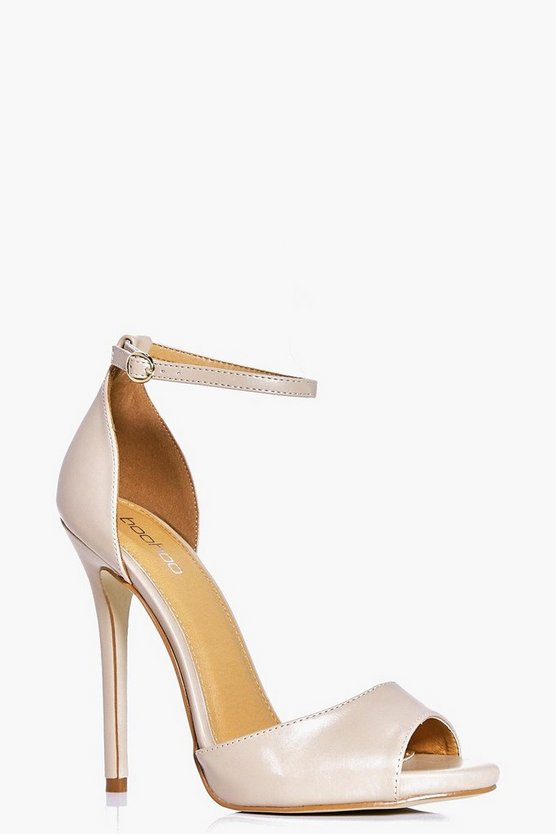 Womens Nude Peeptoe Two Part Heels