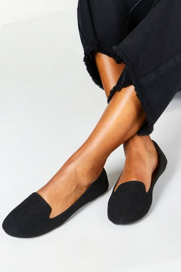 Womens Black Tab Top Slipper Ballets Immy