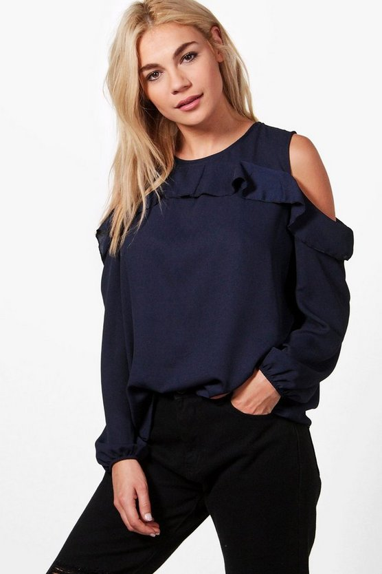 Lauren Frill Cold Shoulder Blouse