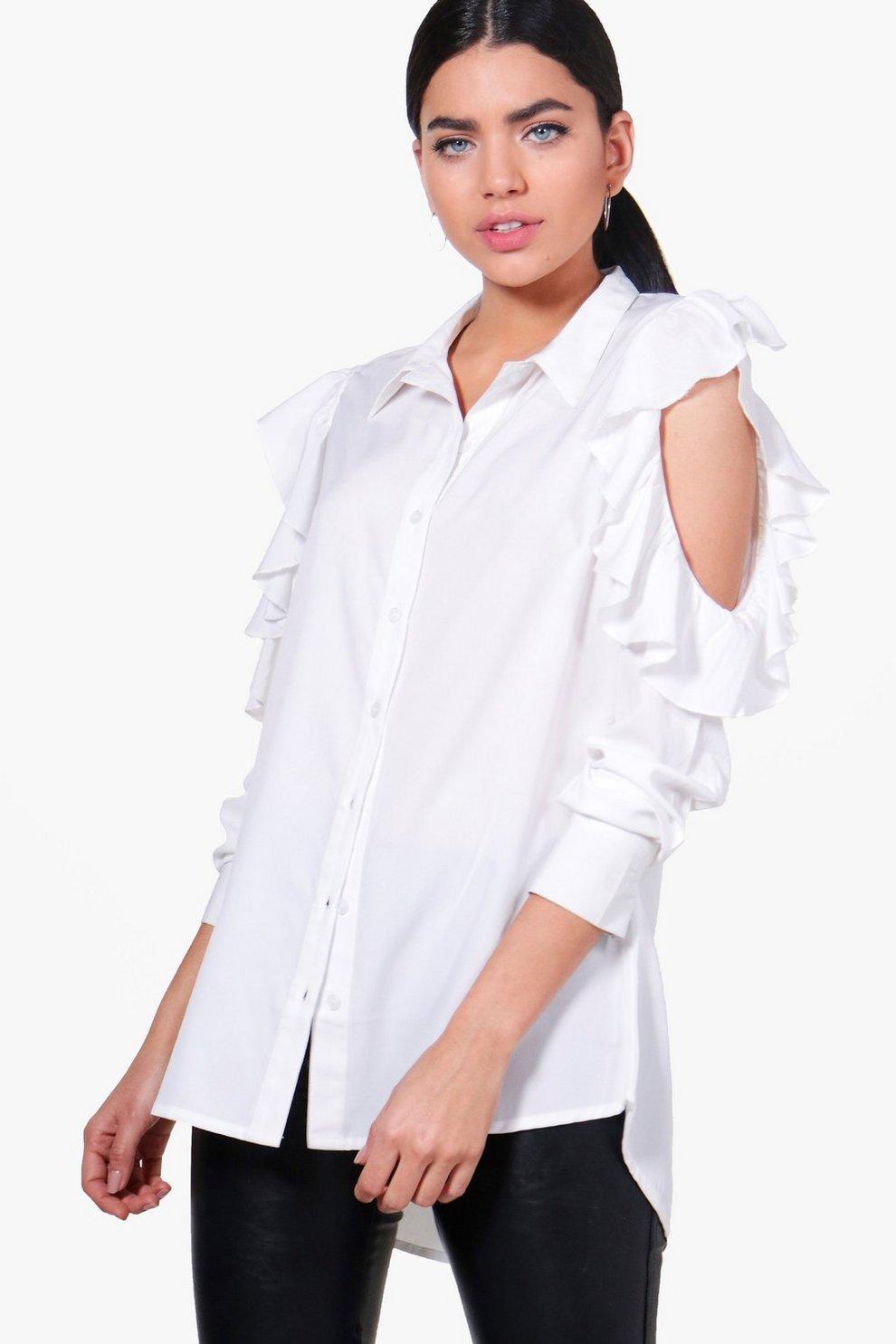 1a6cafa17587aa Lucy Ruffle Cold Shoulder Shirt