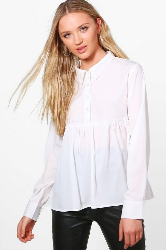 Womens Ivory Robyn Wide Hem Button Up Shirt